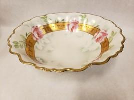 Vintage Vienna Austria Hand Painted Round Vegetable Serving Bowl Pink Ro... - $29.69