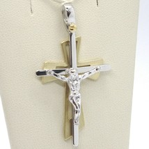 PENDANT DOUBLE CROSS YELLOW GOLD WHITE 750 18K, WITH CHRIST, GLOSSY SATIN image 1
