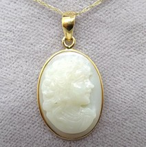 14k Yellow Gold Carved Genuine Natural Opal Cameo Pendant (#J3796) - $650.00