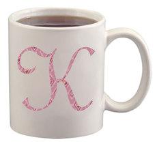 K Floral Monogram Mug/Cup - $14.60