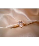 Pear Cut Crystal Ring Size 8 Bargain Bin Under $10.00 - $5.99