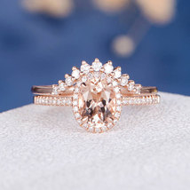 Oval Cut AAA Morganite Engagement Halo Bridal Ring Set 14K Rose Gold Over Silver - $124.79