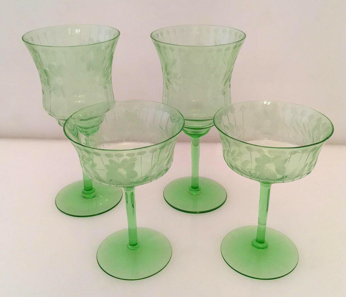 4 Green Uranium Vaseline Etched Crystal Glasses Water/Wine