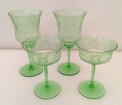 4 Green Uranium Vaseline Etched Crystal Glasses Water/Wine - $82.00