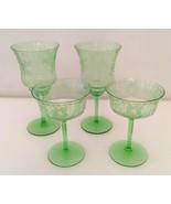 4 Green Uranium Vaseline Etched Crystal Glasses Water/Wine - $82.00