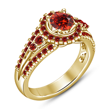 Round Cut Red Garnet Yellow Gold Plated Pure 925 Silver Wedding Engageme... - $83.99