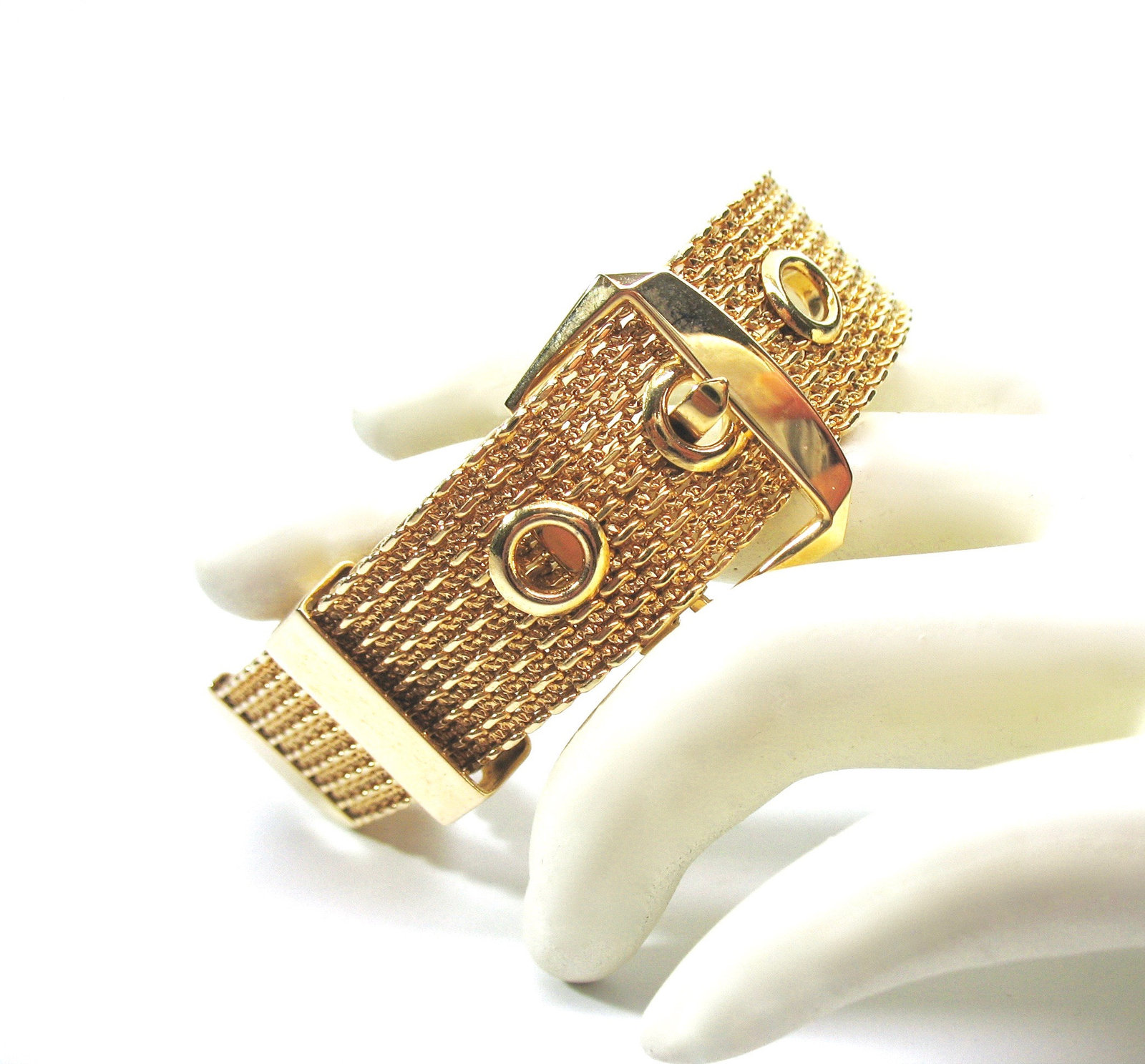Mesh Buckle Bracelet, Gold Tone, Avon, 1970's, Adjustable, Signed Collectible, D image 2