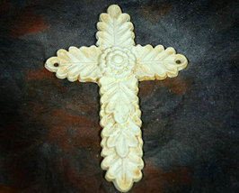 Antique White Iron Cross with Leaf and Rosette Design - $6.99