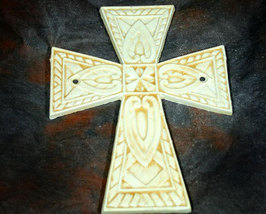 Antique White Iron Cross with Square Celtic Design - $6.99