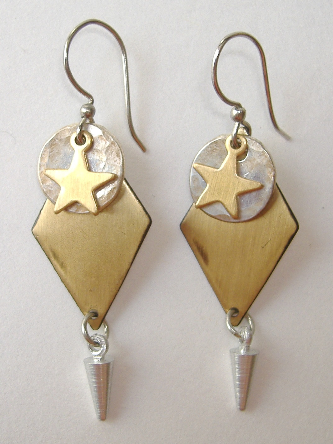 Primary image for Star Circle Diamond Drop Earrings Mixed Metal Brass Silver Dangle Pierced