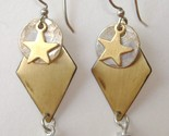 Star Circle Diamond Drop Earrings Mixed Metal Brass Silver Dangle Pierced