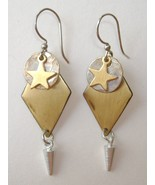 Star Circle Diamond Drop Earrings Mixed Metal Brass Silver Dangle Pierced - $33.00