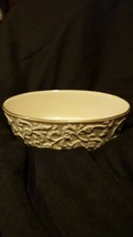 2002 Lenox Ivory  China Oval Candy Dish Embossed Floral Pattern 5.75 inches wide - $7.40
