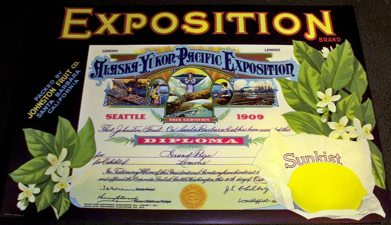 Intricate Litho! Exposition Crate Label, 1920's