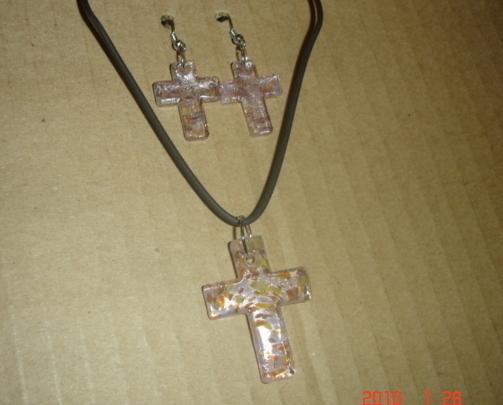 LampWork Cross Earrings and Necklace set  Bonanza