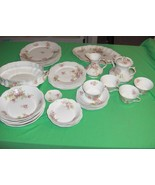 Antique 30-Pc Set Coronet Borgfeldt Limoges China Pink Wild Roses - $197.01