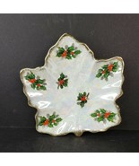 Vintage Lusterware Christmas Candy Dish Holly Berry Leaf Gold Trim Made ... - $17.99