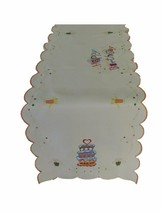 Tabletops Happy Birthday Decorative Table Runner 16 x 72 Embroidered White - $34.95