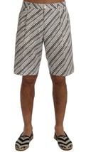 Dolce & Gabbana Men White Black Striped Casual Shorts It48-M - $183.13