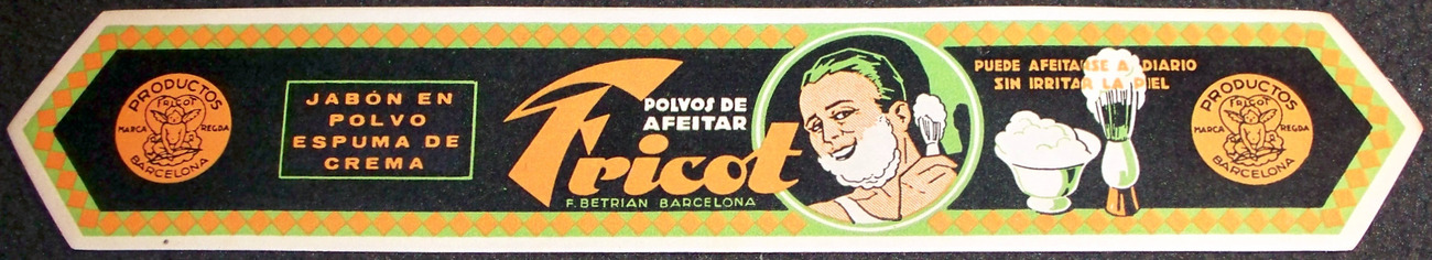 Vintage Deco! Fricot Shaving Cream Label, 1920's