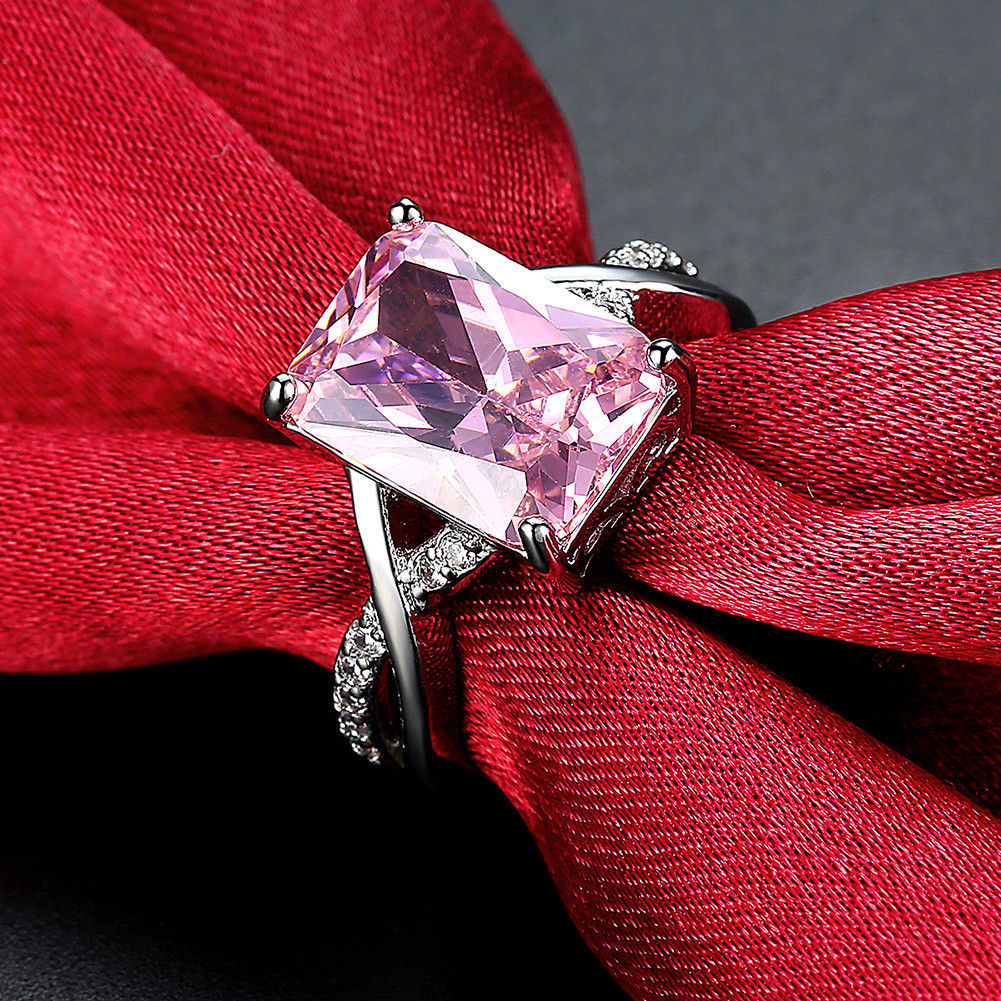 Primary image for Pink & White Gemstone Fashion Jewelry Women Gift Silver Ring Size 6 7 8 New