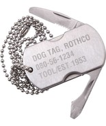 Stainless Steel Dog Tag Multi Tool Bottle Opener Utility Knife Screw Dri... - $7.99