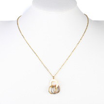 UE- Gold Tone Designer Circular Pendant Necklace & Tri Color Eternity Rings - $16.99