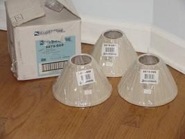 "3 - Sea Gull Lighting Creme Linen Fabric Light Shade 8"" 4 1/2"" Snap Torpedo Bulb - $29.00"