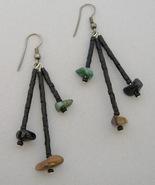 Black Beaded Handmade Earrings 3 Strand Green Brown Beads Pierced Dangle - $28.00