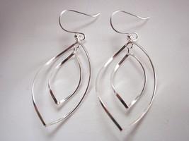 Double Wavey Curved Hoop Dangle Earrings 925 Sterling Silver Corona Sun ... - $24.74