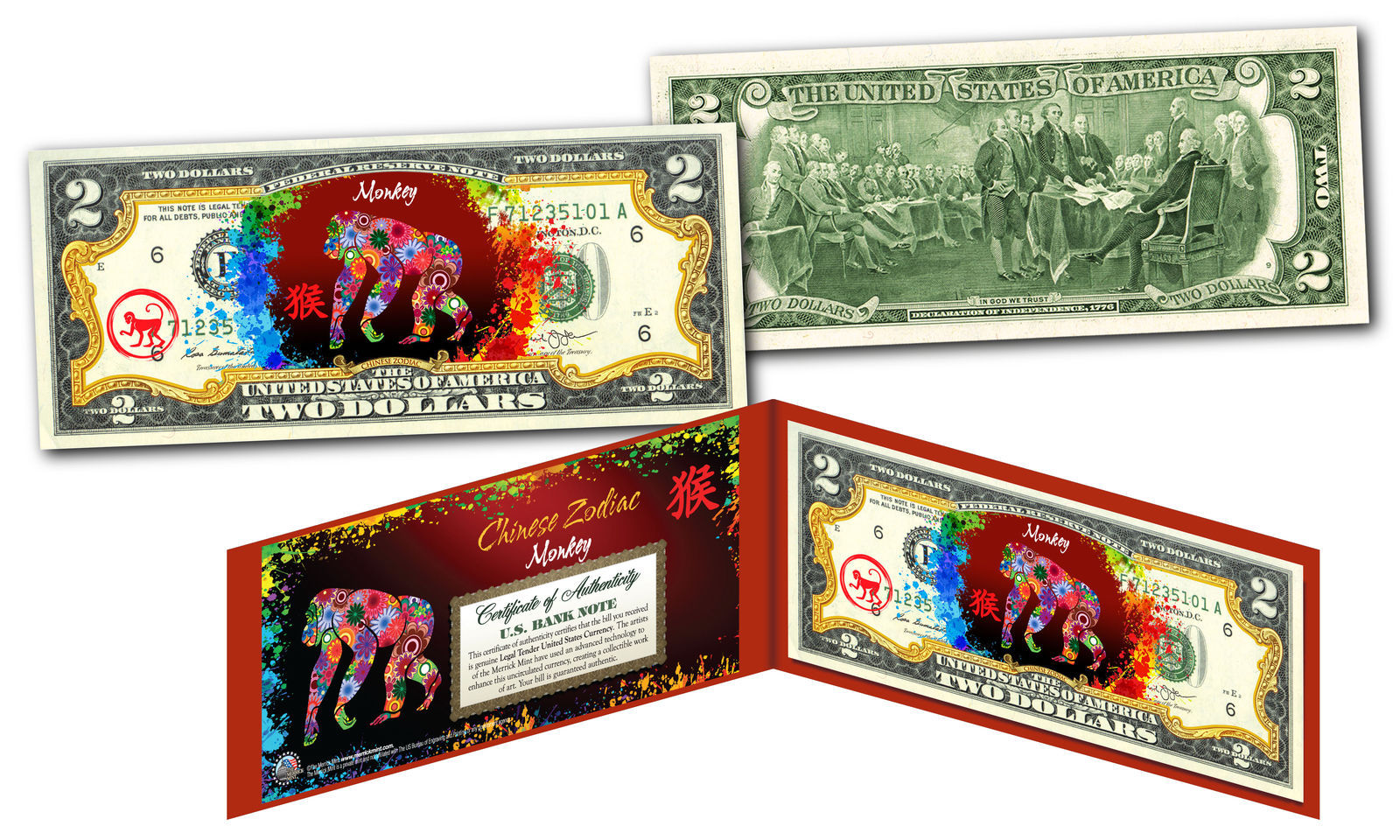 Primary image for YEAR of the MONKEY - Chinese Zodiac Official $2 U.S. Bill RED POLYCHROME Edition