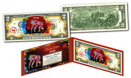 YEAR of the MONKEY - Chinese Zodiac Official $2 U.S. Bill RED POLYCHROME... - $13.81