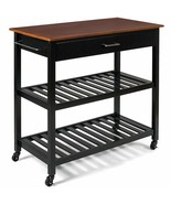 Multifunction Kitchen Island Rolling Trolley Cart-Black - $186.79