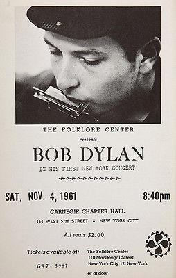 Primary image for Bob Dylan - Carnegie Chapter Hall - New York - 1961 - Concert Poster