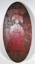 """ANTIQUE 23""""X 11"""" HAND CARVED WOODEN PENNSYLVANIA DUTCH GIRL WALL PLAQUE - $22.44"""