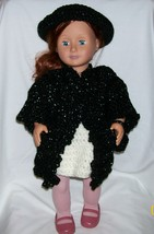 American Girl Black Coat, Hat and Purse, Handmade Crochet, 18 Inch Doll - $28.00