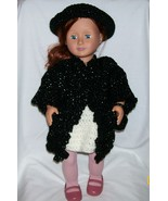 American Girl Black Coat, Hat and Purse, Handmade Crochet, 18 Inch Doll - $32.00