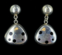 Vintage Sterling Silver Inlay Black Onyx Puffy Mid Century Post Back Ear... - $89.99