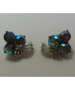 Vintage Signed Kramer Silver-tone AB Rhinestone Clip-on Earrings - $27.71