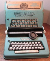 VINTAGE  TOM THUMB GREEN EXCLUSIVE DIAL A TYPE KIDS JUNIOR TYPEWRITER TO... - $49.50