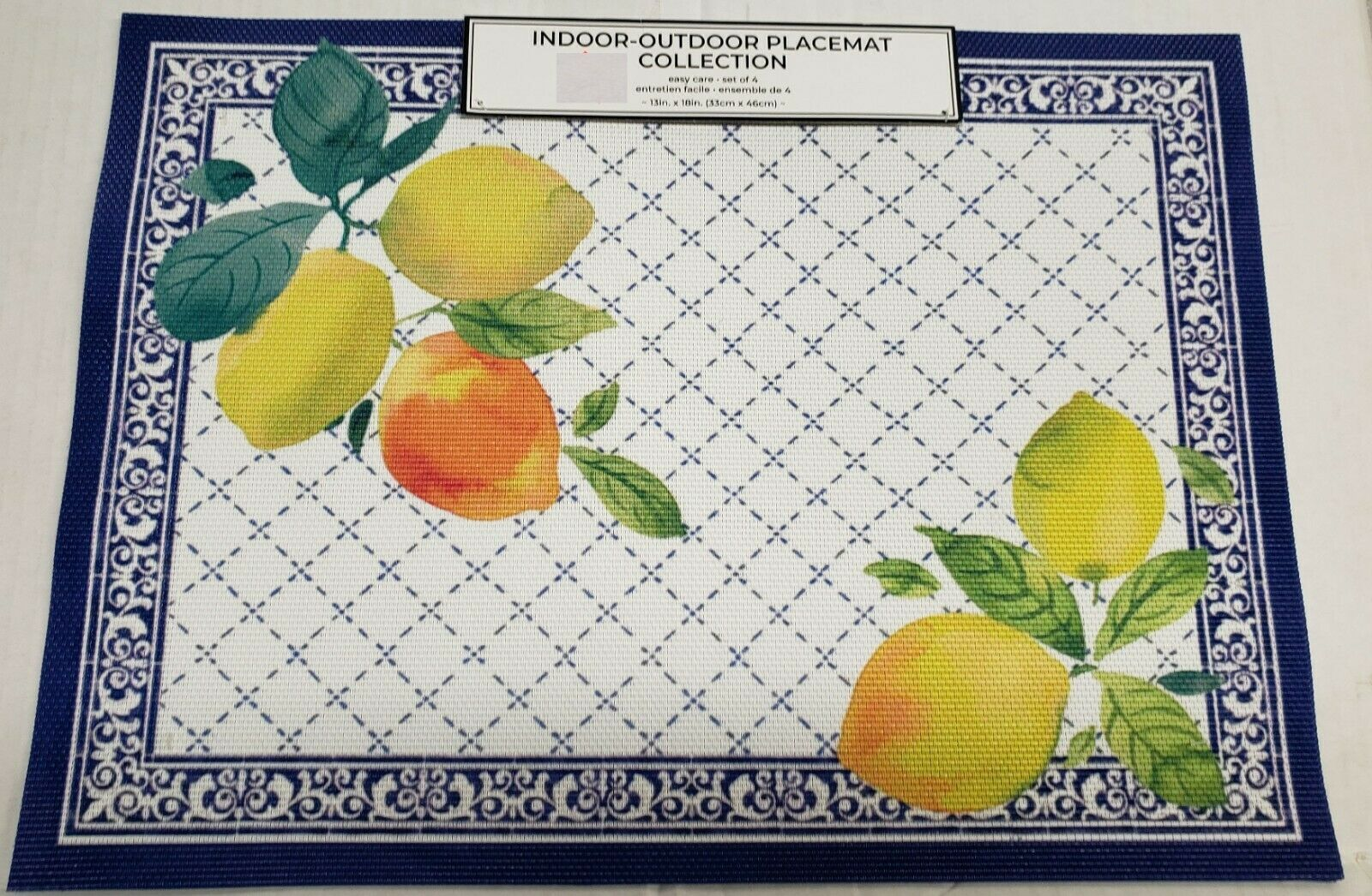 "Primary image for Set of 4 PVC Indoor/Outdoor Polyvinyl Placemats (13""x18"")LEMONS IN BLUE FRAME,BM"