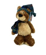 "Gund Teddy B Caring 16"" Plush Bear with Green Blue plaid hat and scarf NWT - $19.95"