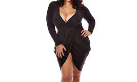 Women's Plus Size Deep V Neck Bodycon Wrap Dress - $29.99