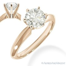 Round Brilliant Cut Moissanite 14k Rose Gold 6-Prong Solitaire Engagemen... - £352.09 GBP+