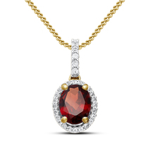 Oval Shape Red Garnet 14k Yellow Gold Over 925 Silver Fancy Pendant With Chain - $39.22