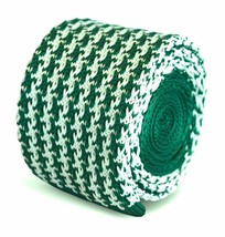 Frederick Thomas Knitted Skinny Green and White Dogstooth Mens Tie FT3282