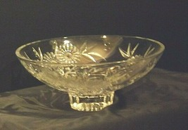 Crystal Floral Serving Bowl Heavy Beautiful Large AA19-LD11935 Vintage image 2