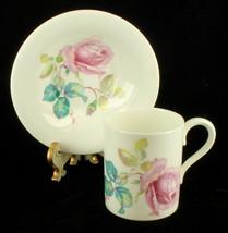 Vintage 40s Radfords Good Quality Demitasse Cup & Saucer Set Pink Roses & Leaves - $32.39