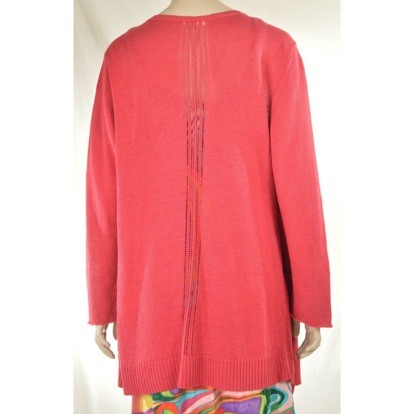 Eileen Fisher sweater cardigan SZ L soft red 100% linen knit pockets soft long s image 3