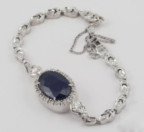 14k White Gold Ladies Art Deco 8.00ct Sapphire  0.75ct Diamond Bracelet, 6 inch